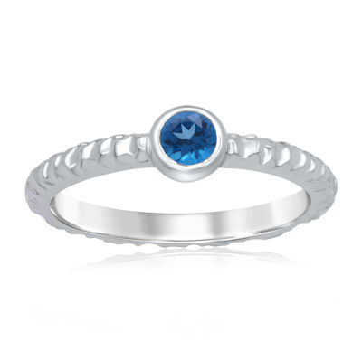 Universe Fine Jewelry By Marvel Womens Genuine Blue Topaz Round Cocktail Ring