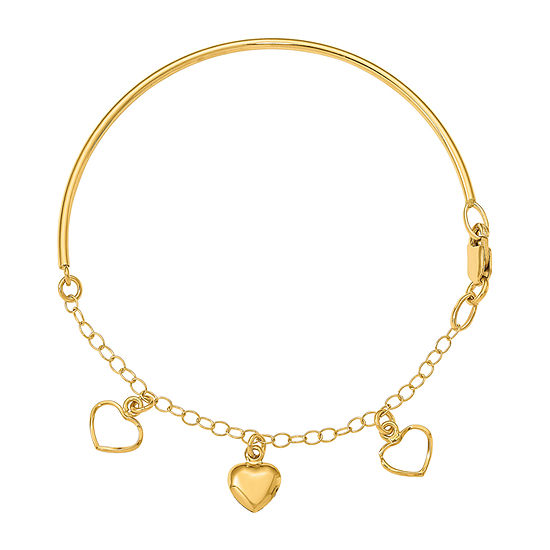 14K Gold Heart Bangle Bracelet