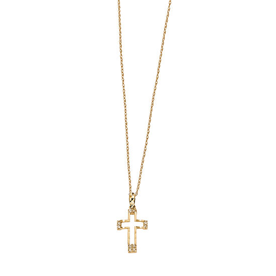 Womens White 14K Gold Cross Pendant Necklace