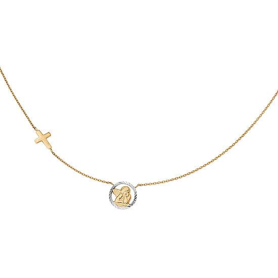 Womens 14K Gold Cross Pendant Necklace