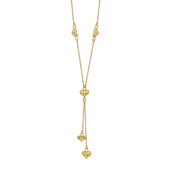 Womens 14k Gold Heart Y Necklace