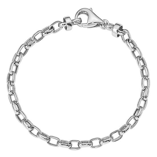 14K White Gold 7.5 Inch Hollow Link Link Bracelet