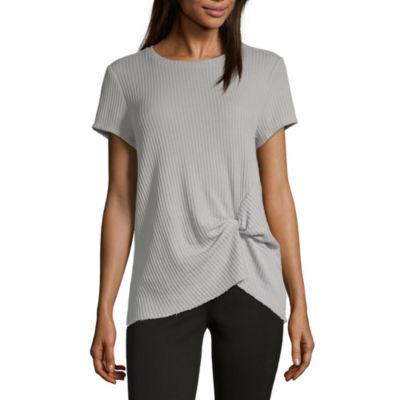 Vanilla Star Waffle-Womens Crew Neck Short Sleeve T-Shirt Juniors