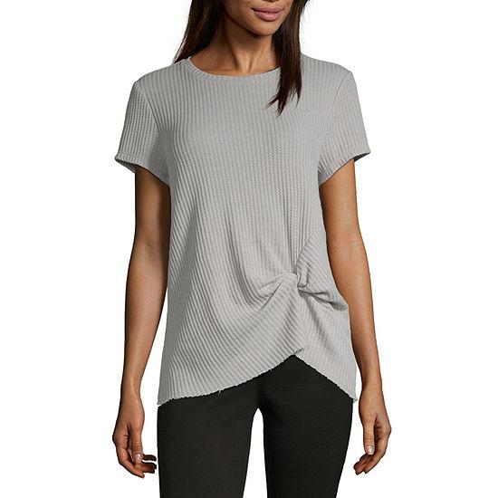 Vanilla Star Waffle Womens Crew Neck Short Sleeve T Shirt Juniors