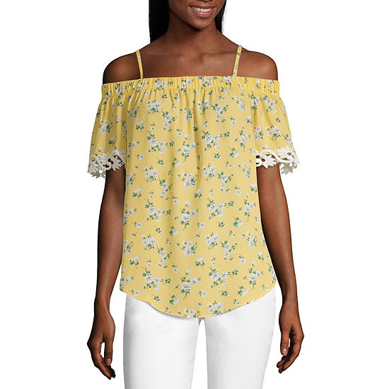 by&by Womens Straight Neck Short Sleeve Blouse-Juniors