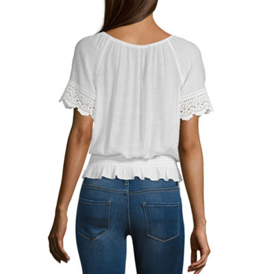 by&by Womens Keyhole Neck Short Sleeve Blouse-Juniors
