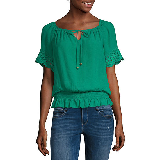 by&by-Juniors Womens Keyhole Neck Short Sleeve Blouse