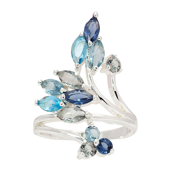 Sparkle Allure Womens Blue Crystal Pure Silver Over Brass Cocktail Ring