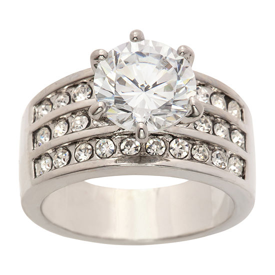 Sparkle Allure Womens 4 3/4 CT. T.W. Cubic Zirconia Pure Silver Over Brass Cocktail Ring