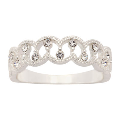Sparkle Allure Womens 2.5MM Crystal Pure Silver Over Brass Band