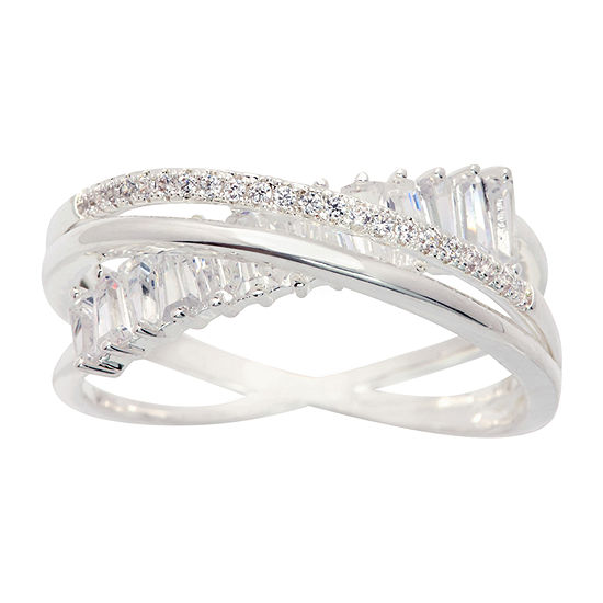 Sparkle Allure Cubic Zirconia Pure Silver Over Brass Crossover Cocktail Ring