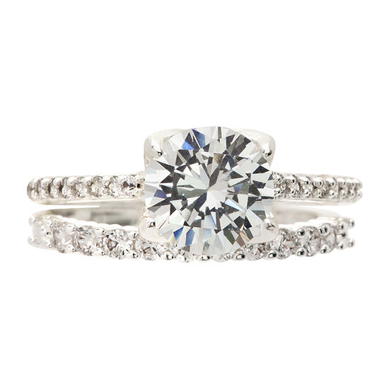 Sparkle Allure Womens 3.5MM 2 1/4 CT. T.W. Cubic Zirconia Pure Silver Over Brass Band