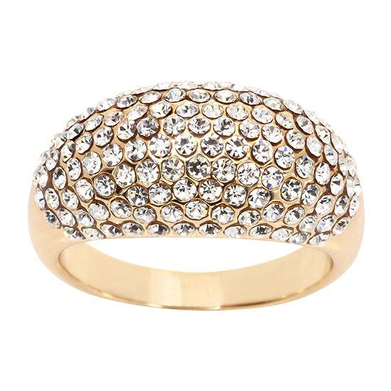 Sparkle Allure Crystal 14K Gold Over Brass Cocktail Ring
