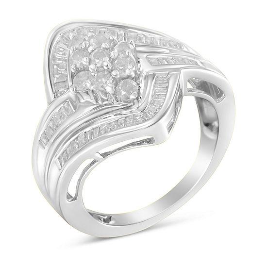 Womens 1 CT. T.W. Genuine White Diamond 10K White Gold Cluster Cocktail Ring