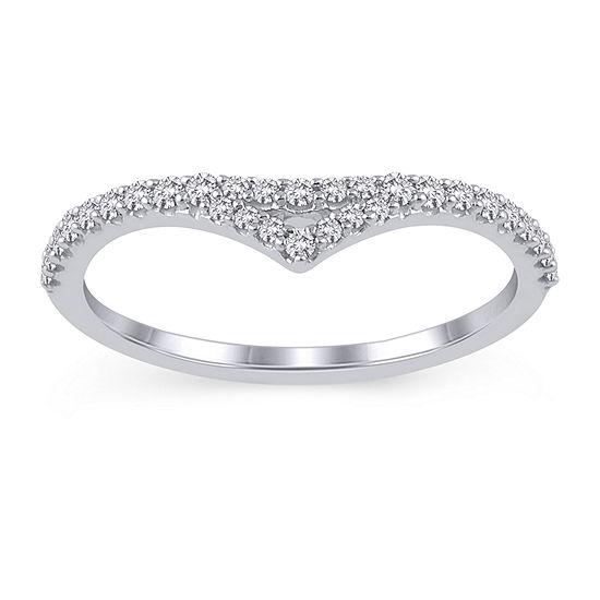 Womens 1/4 CT. T.W. Genuine White Diamond 10K White Gold Ring Enhancer