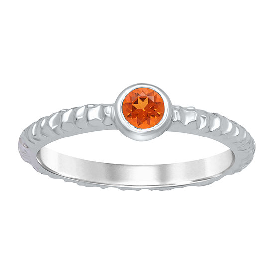 Universe Fine Jewelry By Marvel Womens Genuine Orange Topaz Sterling Silver Round Cocktail Ring