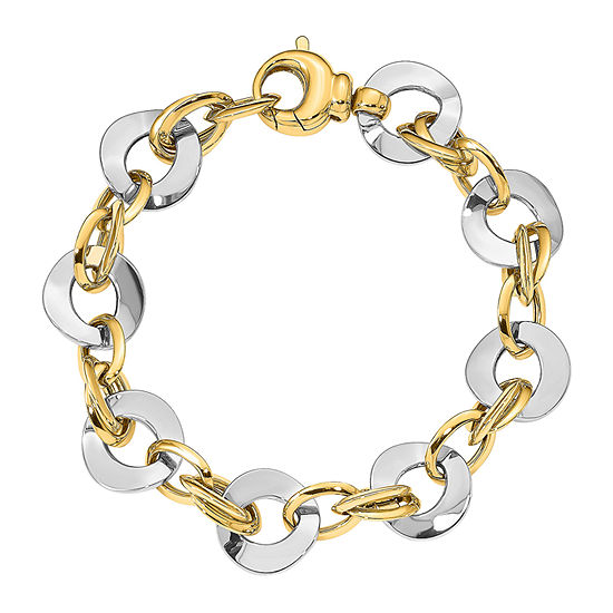 14k Two Tone Gold 8 Inch Hollow Link Bracelet