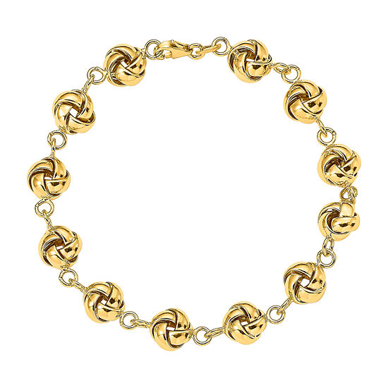 14K Gold 7 Inch Hollow Knot Link Bracelet