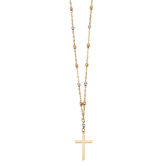 Womens 14K Tri-Color Gold Cross Beaded Necklace
