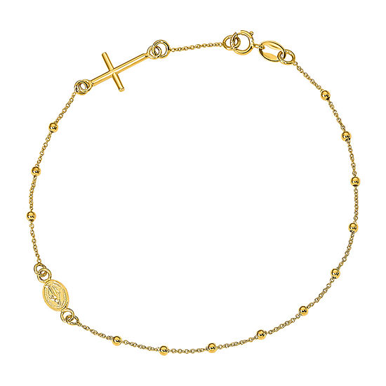 14K Gold Cross Charm Bracelet