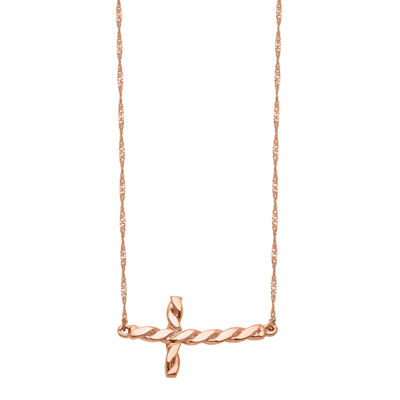 Womens 14K Rose Gold Cross Pendant Necklace