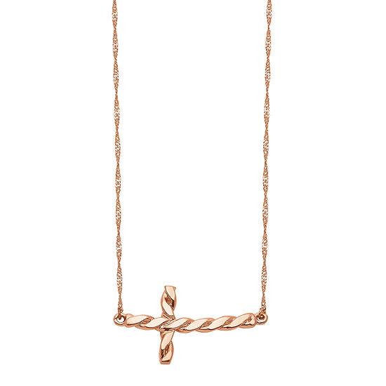 Womens 14K Rose Gold Cross Pendant Necklace