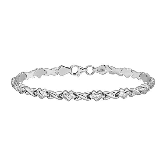 14K White Gold 7 Inch Hollow Link Heart Chain Bracelet