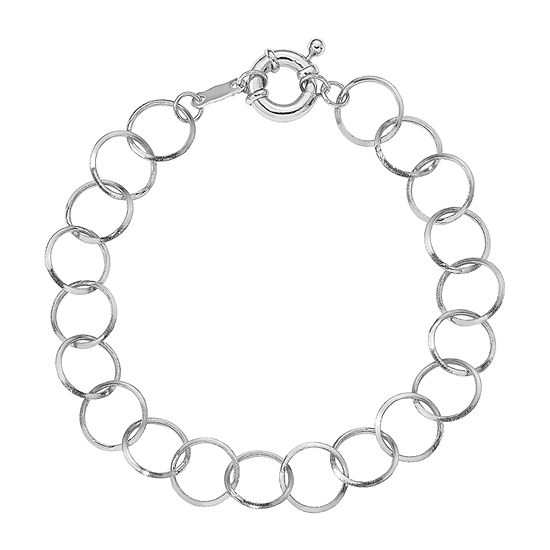 14K White Gold 7.5 Inch Hollow Link Bracelet