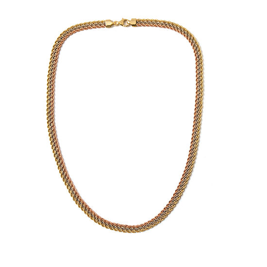 Made in Italy 14K Tri-Color Gold 18 Inch Rope Chain Necklace