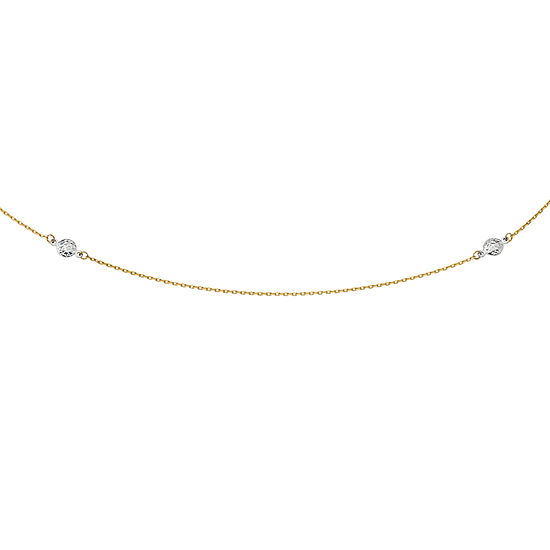 Mens 14K Two Tone Gold Round Beaded Necklace