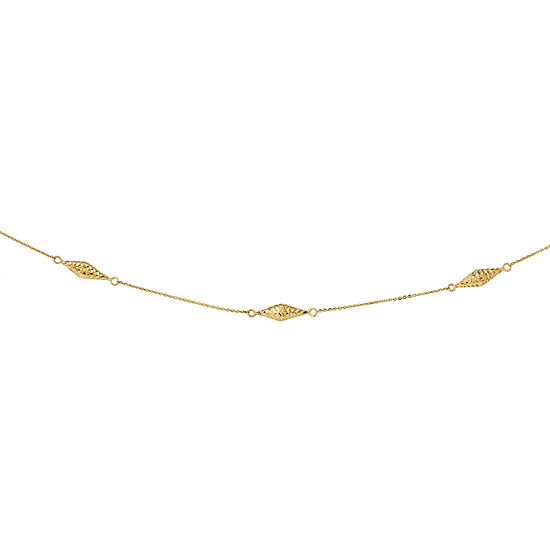 Womens 14K Two Tone Gold Beaded Necklace