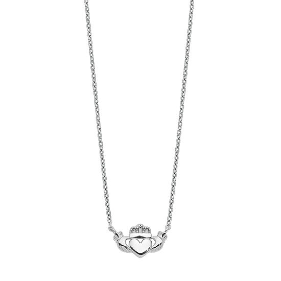Womens 14K White Gold Claddagh Pendant Necklace