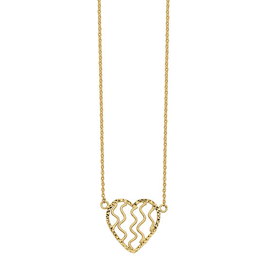 Womens 14K Gold Heart Pendant Necklace