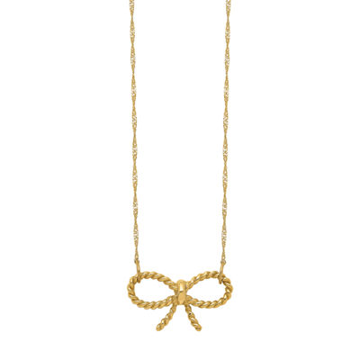 Womens 14K Gold Bow Pendant Necklace