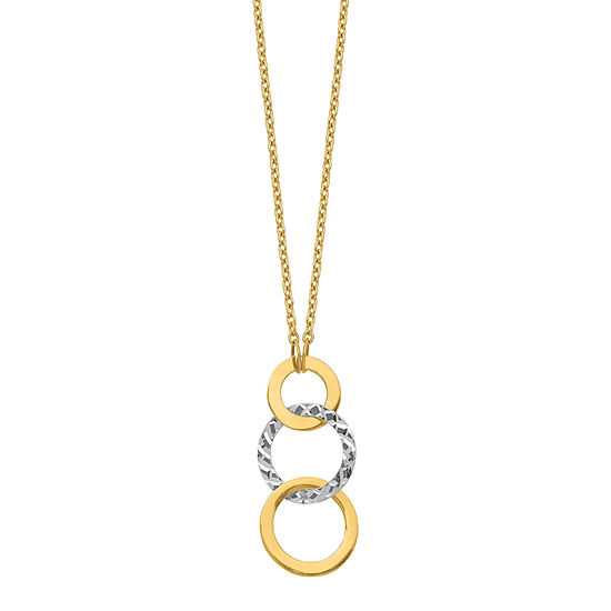 Womens 14K Two Tone Gold Round Pendant Necklace