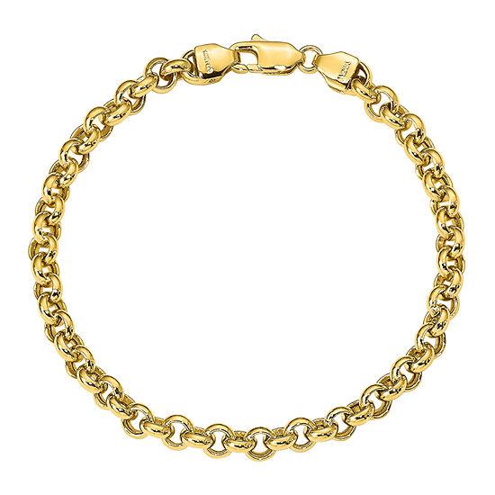 14K Gold 8 1/2 Inch Hollow Link Bracelet