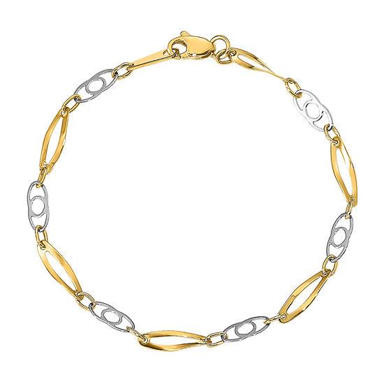 14K Two Tone Gold 7 Inch Semisolid Link Bracelet