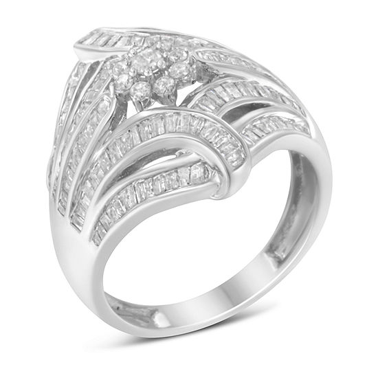 Womens 1 1/8 CT. T.W. Genuine White Diamond Sterling Silver Cocktail Ring