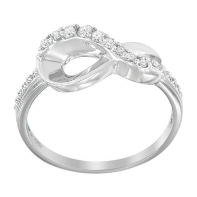 Womens 1/6 CT. T.W. Genuine White Diamond Crossover Cocktail Ring