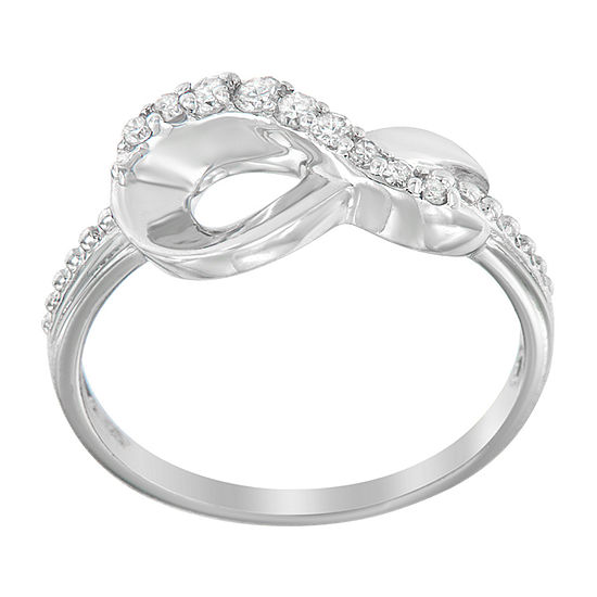 Womens 1/6 CT. T.W. Genuine White Diamond Sterling Silver Crossover Cocktail Ring