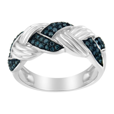 Womens 1/3 CT. T.W. Genuine Blue Diamond Crossover Cocktail Ring