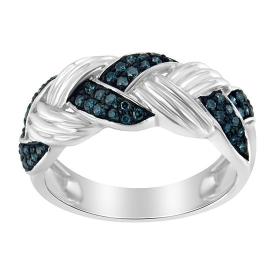 Womens 1/3 CT. T.W. Genuine Blue Diamond Sterling Silver Crossover Cocktail Ring