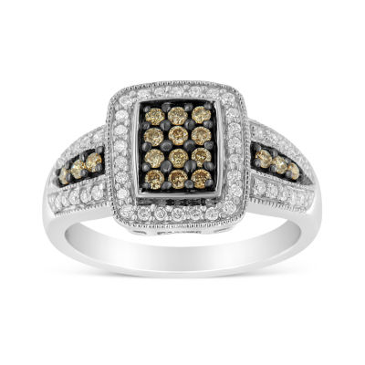 Womens 1/2 CT. T.W. Genuine Multi Color Diamond Cluster Cocktail Ring