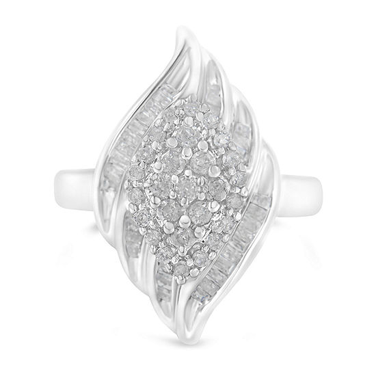 Womens 3/4 CT. T.W. Genuine White Diamond Sterling Silver Cocktail Ring