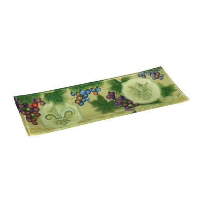 Ne'Qwa Art 7171210 Hand Painted Glass Fleur De Lis Vines Serving Tray 13.75-inches by 5.25-inches Green
