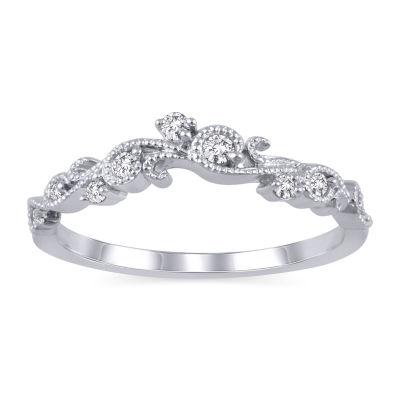 Womens 1/10 CT. T.W. Genuine White Diamond 10K White Gold Ring Enhancer