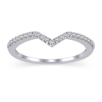 Womens 1/6 CT. T.W. White Diamond 10K White Gold Ring Enhancer