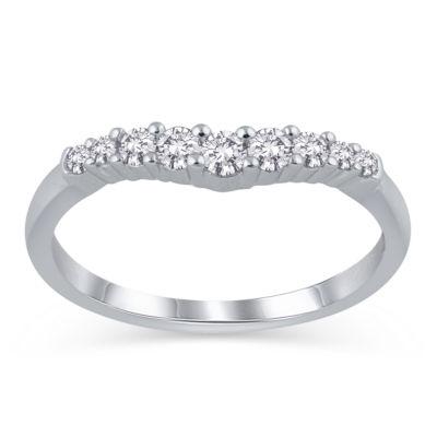 Womens 1/4 CT. T.W. White Diamond 14K White Gold Ring Enhancer