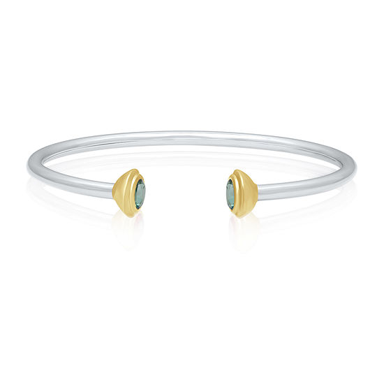 Marvel Universe Fine Jewelry By Marvel Genuine Green Topaz 14K Two Tone Gold Over Silver Bangle Bracelet