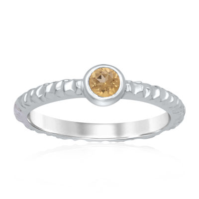 Universe Fine Jewelry By Marvel Womens Genuine Yellow Topaz Round Cocktail Ring